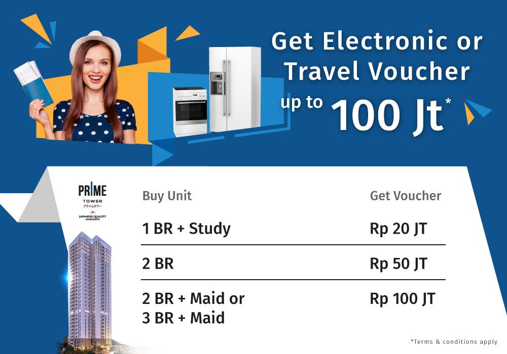 GRATIS Elektronik atau Travel Voucher Setiap Pembelian PRIME Tower